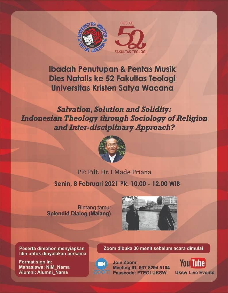 Ibadah Penutupan & Pentas Musik DIES Natalis ke 52 Fakultas Teologi UKSW